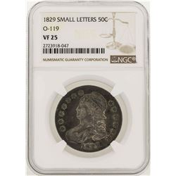 1829 Small Letters Capped Bust Half Dollar Coin O-119 NGC VF25