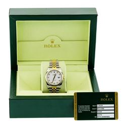 Rolex Mens 18KT Two Tone Gold Datejust Wristwatch