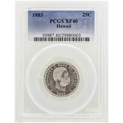 1883 Kingdom of Hawaii Quarter Coin PCGS XF40