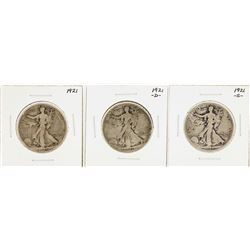 Lot of (3) 1921/D/S Walking Liberty Half Dollar Coins