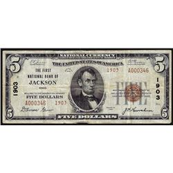 1929 $5 The First National Bank of Jackson OH National Currency Note CH# 1903