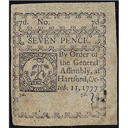 October 11, 1777 Seven Pence Connecticut Colonial Currency Note
