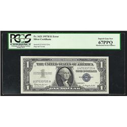 1957B $1 FRN Note ERROR Mismatching Serial Numbers PCGS Superb Gem New 67PPQ