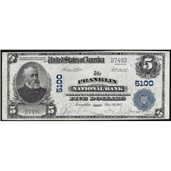 1902 $5 PB Franklin Ohio National Bank Note CH# 5100