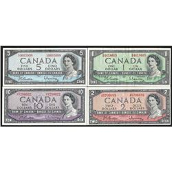 Set of (4) 1954 Bank of Canada Notes