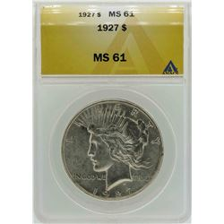 1927 $1 Peace Silver Dollar Coin ANACS MS61