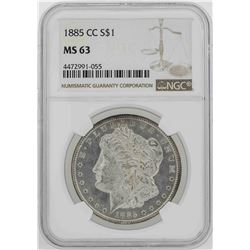 1885-CC $1 Morgan Silver Dollar Coin NGC MS63