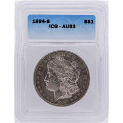 1894-S $1 Morgan Silver Dollar Coin ICG AU53