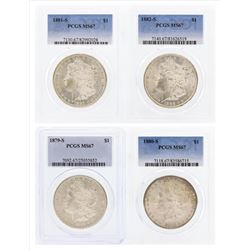 Set of (4) 1879-S to 1882-S $1 Morgan Silver Dollar Coins PCGS MS67