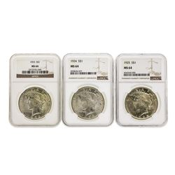 Set of 1923-1925 $1 Peace Silver Dollar Coins NGC MS64