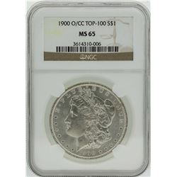 1900-O/CC $1 Morgan Silver Dollar Coin Top 100 NGC MS65