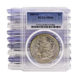 Lot of (10) 1884-O $1 Morgan Silver Dollar Coin PCGS MS64