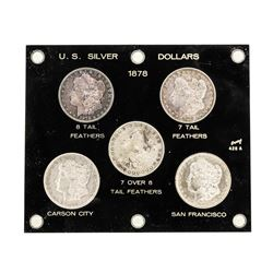 Set of (5) 1878 $1 Morgan Silver Dollar Coins - Assorted Variety
