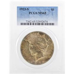1923-S $1 Peace Silver Dollar Coin PCGS MS65