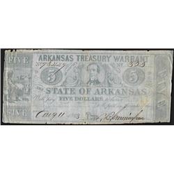 1863 $5 State of Arkansas Treasury Warrant Note