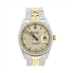 Men's Two-Tone Rolex Datejust Watch with Diamond Dial & Bezel