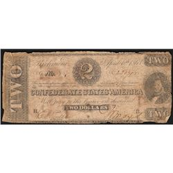 1863 $2 Confederate States of America Note