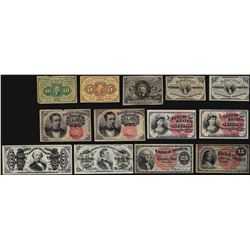 Lot of (13) Assorted Fractional Currency Notes
