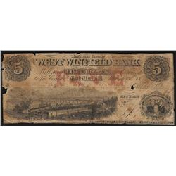 1862 $5 West Winfield Bank Obsolete Bank Note