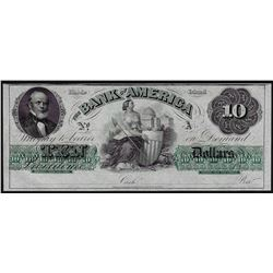 1800's $10 The Bank of America Rhode Island Obsolete Note