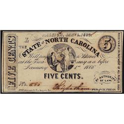 1863 Five Cents State of North Carolina Obsolete Bank Note