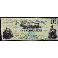 1862 $10 The State of Mississippi Note
