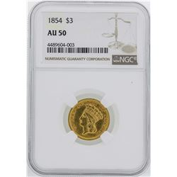 1854 $3 Indian Princess Head Gold Coin NGC AU50