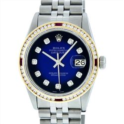 Rolex Stainless Steel 1.30ctw Ruby and Diamond Datejust Mens Wristwatch