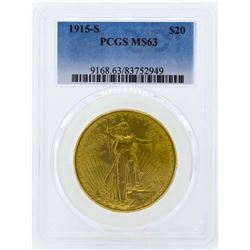1915-S $20 Liberty Head Double Eagle Gold Coin PCGS MS63