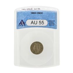 1865 Three Cent Nickel Coin ANACS AU55