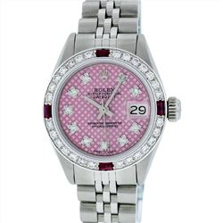 Rolex Stainless Steel 0.70ctw Ruby and Diamond Datejust Ladies Wristwatch