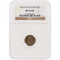 1899 VBP Denmark ORE Coin NGC Graded MS62 BN
