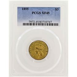 1855 $3 Indian Princess Head Gold Coin PCGS XF45