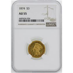 1874 $3 Indian Princess Head Gold Coin NGC AU55