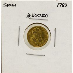 1783 Charles III Spanish 1/2 Escudos Gold Coin