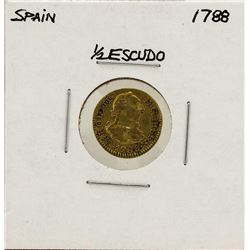 1788 Charles III Spanish 1/2 Escudos Gold Coin