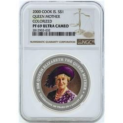 2000 Cook Island $1 Queen Mother Silver Coin NGC PF69 Ultra Cameo
