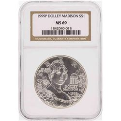 1999-P $1 Dolley Madison Commemorative Silver Dollar Coin NGC MS69