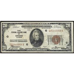 1929 $20 Federal Reserve Bank Note Chicago