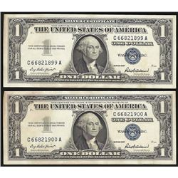 Lot of (2) 1957 $1 Silver Certificate Notes