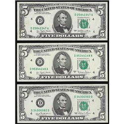 Lot of (3) 1977 & 1981 $5 Federal Reserve Notes Choice Uncirculated