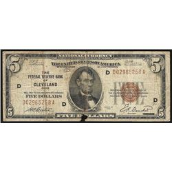 1929 $5 Federal Reserve Bank Note Cleveland Ohio