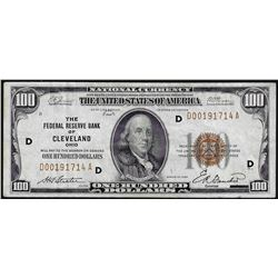 1929 $100 Federal Reserve Bank of Cleveland National Currency Note
