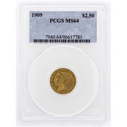 1909 $2 1/2 Indian Head Quarter Eagle Gold Coin PCGS MS64