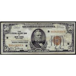 1929 $50 Federal Reserve Bank of New York National Currency Note