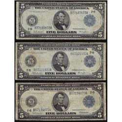 Lot of (3) 1914 $5 Federal Reserve Blue Seal Notes