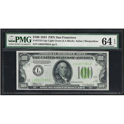 1934 $100 Federal Reserve Note Light Green Seal PMG Choice Uncirculated 64EPQ