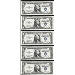 Lot of (5) Consecutive 1935C $1 Silver Certificate Notes