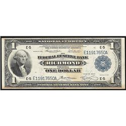 1918 $1 Federal Reserve Bank of Richmond National Currency Note