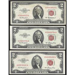 Lot of (3) 1953 $2 Legal Tender Notes